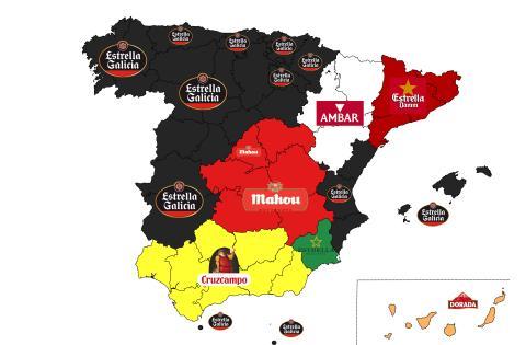 Mapa de las marcas de cerveza favoritas por comunidades autónomas en España.