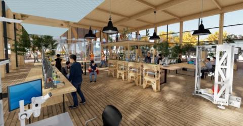 Una renderización del interior de un edificio de la ciudad del futuro