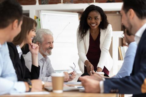 reunión, liderazgo, trabajadores en oficina