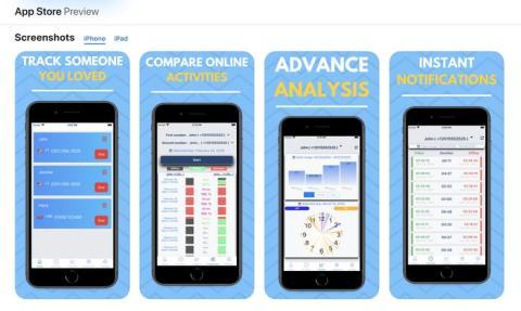 Una captura de pantalla de la App Store de Apple de una aplicación de iPhone que rastrea la actividad de los usuarios en WhatsApp y ayuda a los usuarios a descubrir con quién están hablando las personas en la aplicación