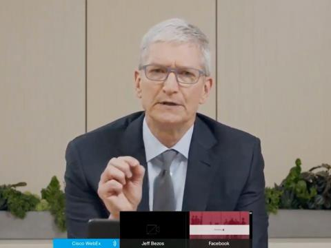 Apple CEO Tim Cook testifying remotely in front of Congress in July.