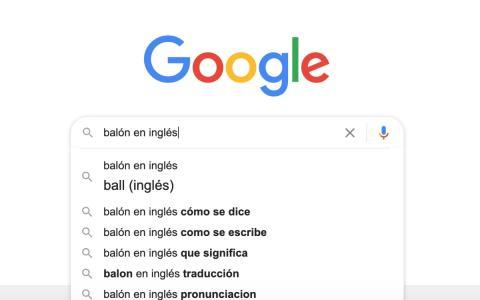 """Para la búsqueda """"balón en inglés"""" no hace falta siquiera salir del cajón de autocompletado: el propio buscador resuelve la duda sin necesidad de llevar a cabo la consulta."""