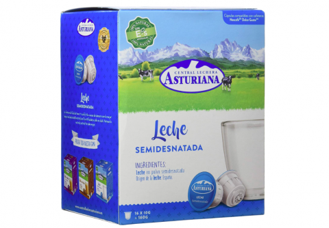 Central Lechera Asturiana cápsulas de leche en polvo semidesnatada - 4 Paquetes de 16 Cápsulas - total: 64 cápsulas.