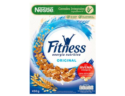 Cereales Nestlé Fitness Original - Copos de trigo integral, arroz y avena integral tostados - 12 paquetes de cereales de 450g.