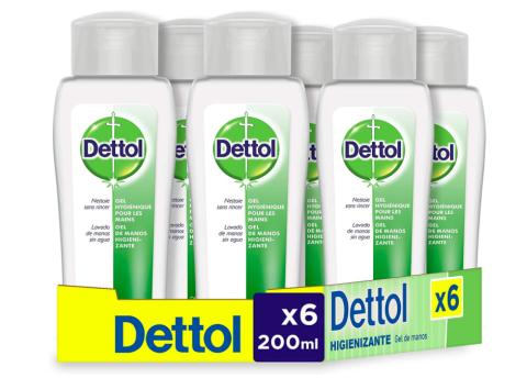 Dettol Gel hidroalcohólico higienizante de manos - 200 ml x 6.