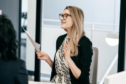 entrevista de trabajo, reunión, empleada