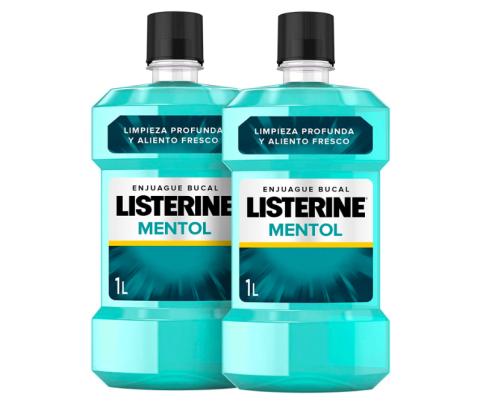 Listerine, Enjuague bucal mentol, pack de 2, 1000 ml.