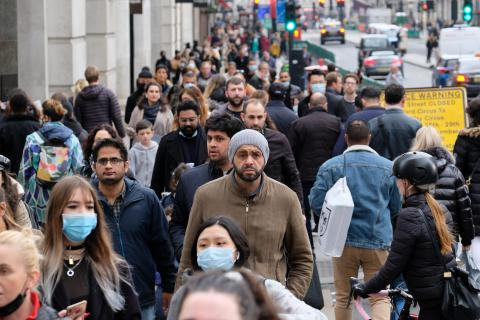 A crowded London street as seen on October 18, 2020.