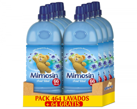 Mimosín Azul Vital - Concentrado Suavizante, 66lav x 8botellas.