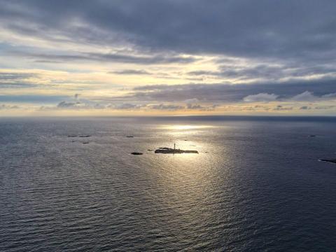 Aerial view of Pater Noster hotel on Hamneskär island.