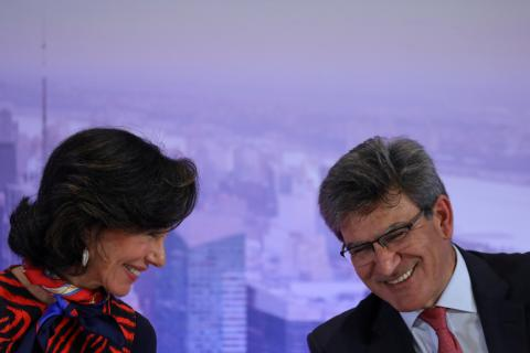 La presidenta del Banco Santander, Ana Botín, y el consejero delegado, Jose Antonio Álvarez