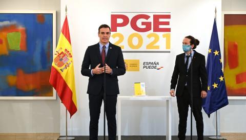 El presidente del Gobierno, Pedro Sánchez, y el veicepresidente segundo, Pablo Iglesias
