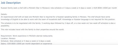 A screenshot of the description of the Michelin star chef job posting.