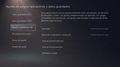 Ajustes predefinidos PS5