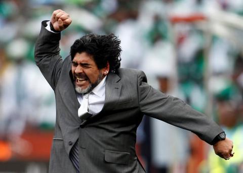 Maradona durante un partido