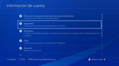 Opciones de seguridad PS4