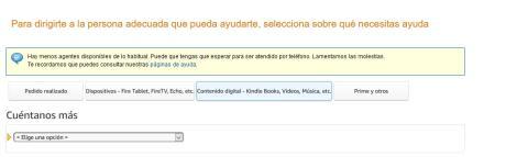 Página de contacto de Amazon