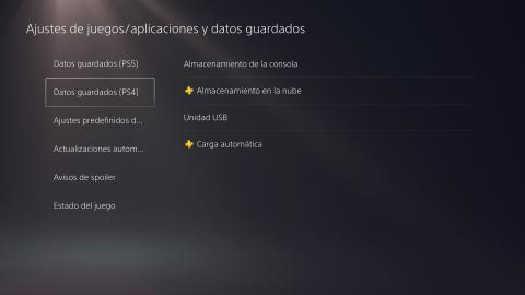 PS5 datos guardados de PS4