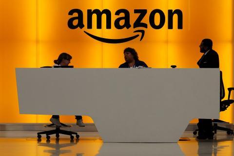 Recepción de las oficinas de Amazon en Nueva York.