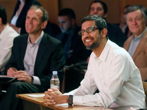 Sundar Pichai con el responsable legal de Google, Kent Walker