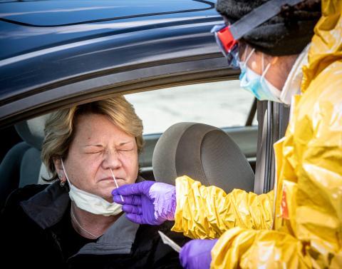 Pruebas de Coronavirus en Jericó, Nueva York, Estados Unidos, el 22 de abril de 2020.