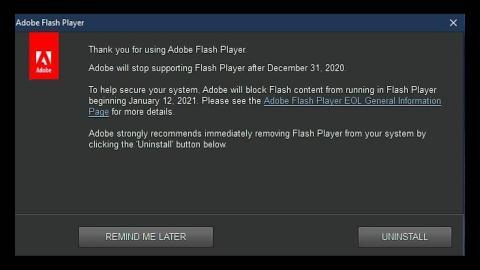 Adobe flash player mensaje