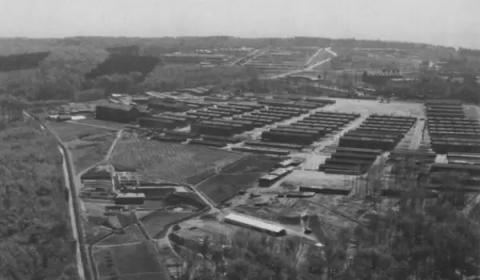 An aerial image of Buchenwald concentration camp seen in 1945.