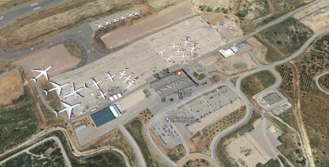 Vista aérea del Aeropuerto de Castellón en Google Maps.