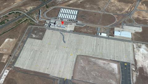 Vista aérea del Aeropuerto de Ciudad Real en Google Maps.