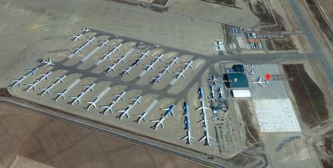 Vista aérea del Aeropuerto de Teruel en Google Maps.
