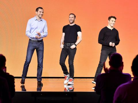 Los fundadores de Airbnb, Nathan Blecharczyk, Joe Gebbia y Brian Chesky.