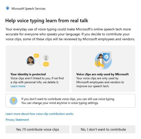 El aviso actual de Microsoft para pedir permiso para escuchar clips de voz.