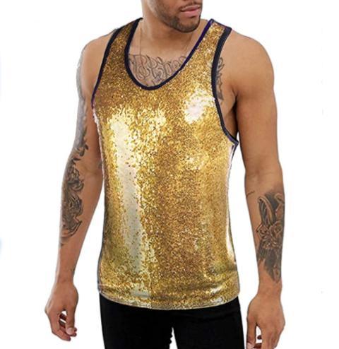 Camiseta con lentejuelas dorada