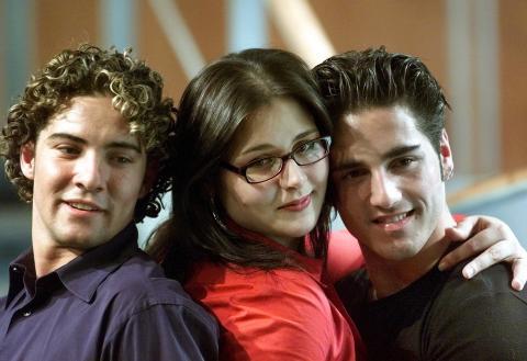 David Bisbal, Rosa López y David Bustamante, tras Operación Triunfo, 2002.