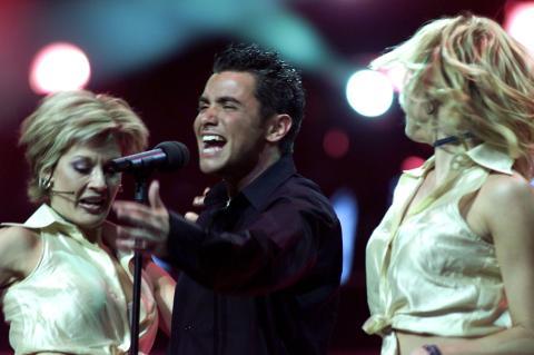 David Civera en el Festival de Eurovisión, 2001.