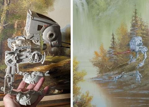 El modelo de juguete que Sherrill usó para la pintura 'Batalla de Endor' (derecha).