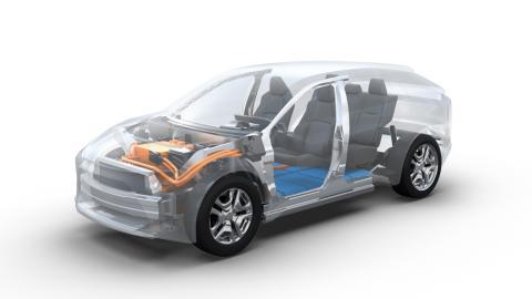 Esquema de la plataforma de coches eléctricos e-TNGA de Toyota
