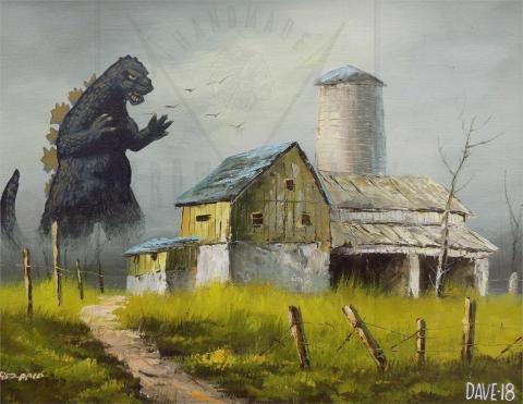 Godzilla de pie cerca de un granero.