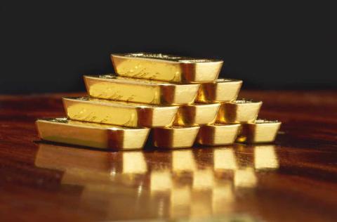 Lingotes de oro acuñados por Degussa.