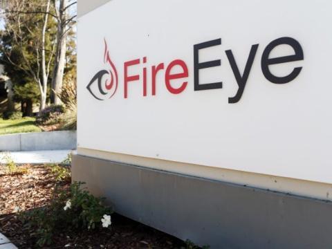 Logo de FireEye en sus oficinas.