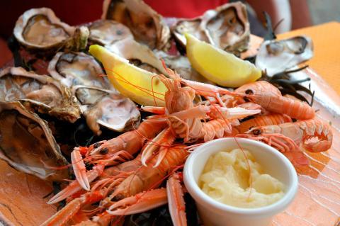 marisco, gamas y ostras