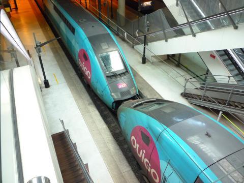 Dos trenes de Ouigo acoplados.