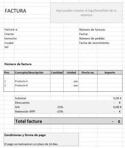 Plantilla de factura en Excel