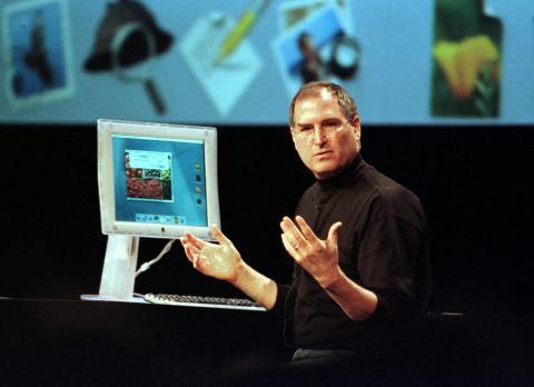 Steve Jobs, CEO de Apple, durante una presentación preliminar del sistema operativo Mac OS X.