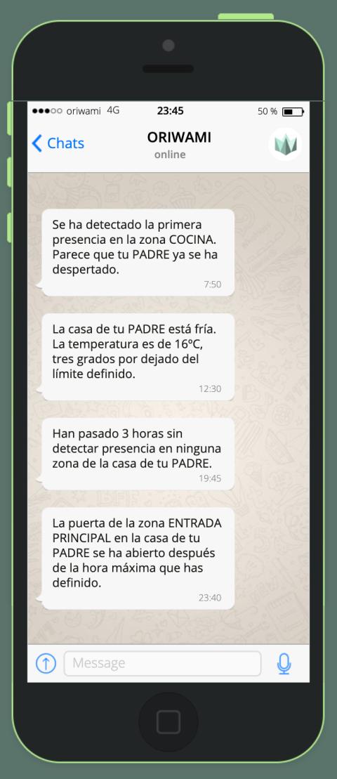 Alertas de Oriwami al Whatsapp