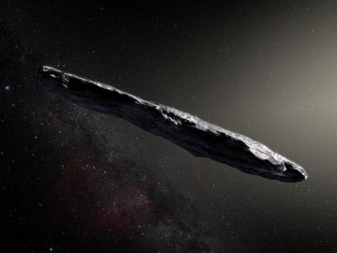 """An artist's impression of the first-known interstellar object to visit the solar system, """"Oumuamua."""""""