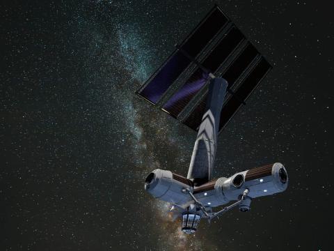 Ilustración de AxStation, primera estación espacial privada, construida por Axiom Space.