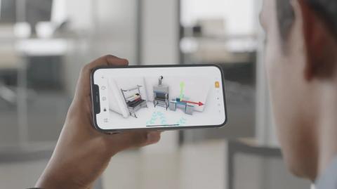 LiDAR puede ser utilizado para crear un modelo virtual de una habitación. Apple.