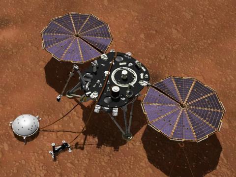 El concepto de un artista muestra el módulo de aterrizaje InSight de la NASA con sus instrumentos desplegados en la superficie marciana.