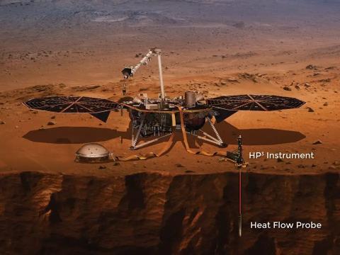 """Una ilustración del módulo de aterrizaje InSight con su """"topo"""" excavando en el suelo."""